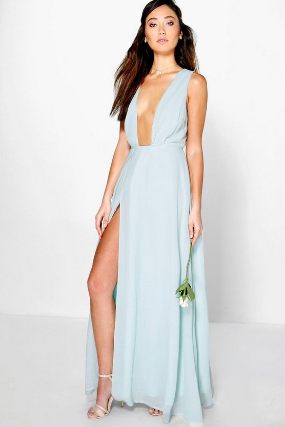 Wrap Front Chiffon Maxi Dress