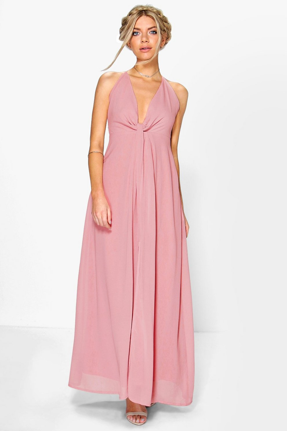 93c77851aa Womens Blush Leah Knot Plunge Neck Chiffon Maxi Dress