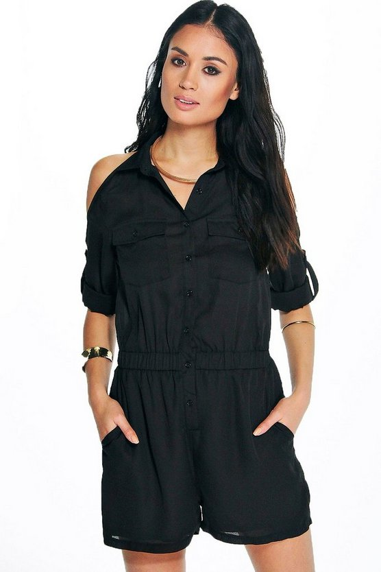 Lola Cold Shoulder Utility Style Playsuit