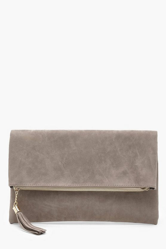 Womens Grey Sofia Suedette Fold Over Clutch Bag