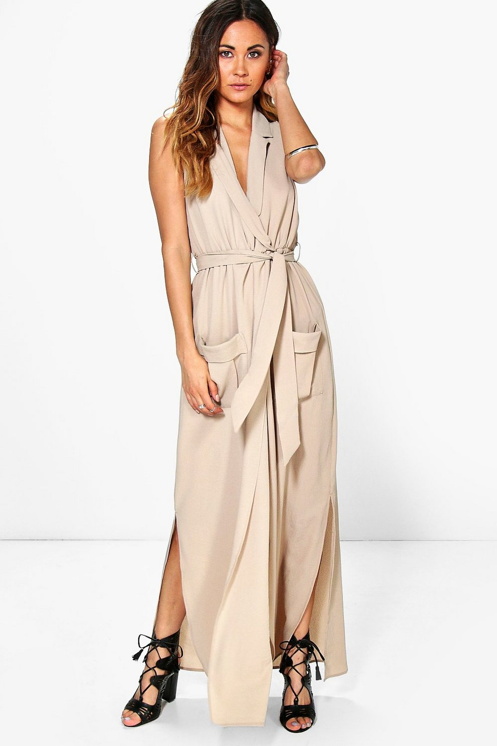 df080478a80 Madeline Sleeveless Belted Maxi Dress. Womens Stone Madeline Sleeveless  Belted Maxi Dress. Hover to zoom