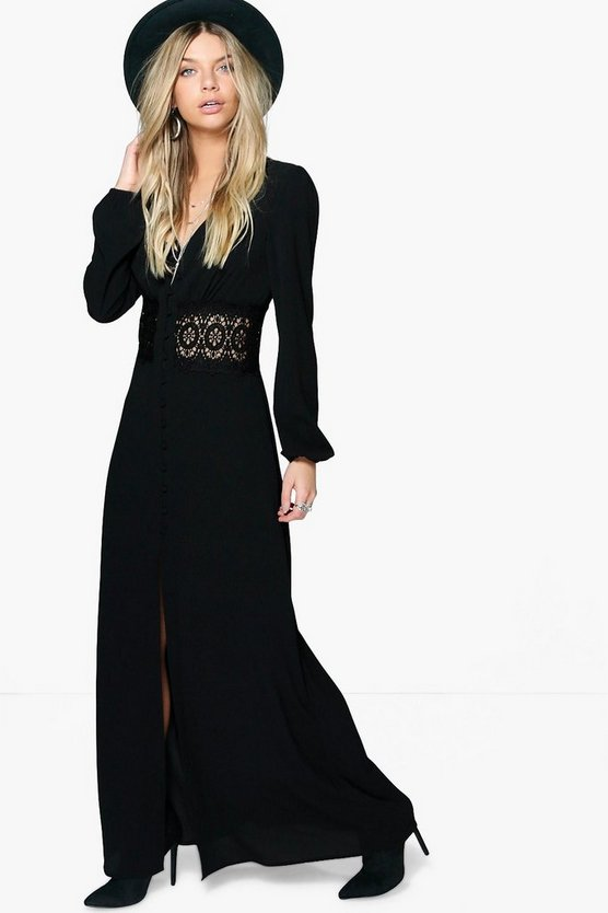 Lace Waist Sleeve Button Maxi Dress
