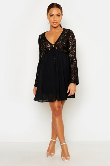 Black Corded Lace Button Woven Smock Dress