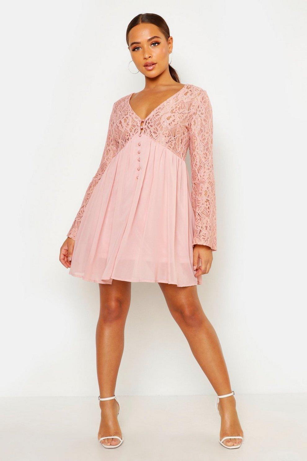 9da8c04e244ca Womens Blush Corded Lace Button Woven Smock Dress