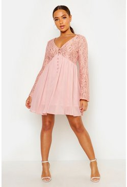 Womens Blush Corded Lace Button Woven Smock Dress