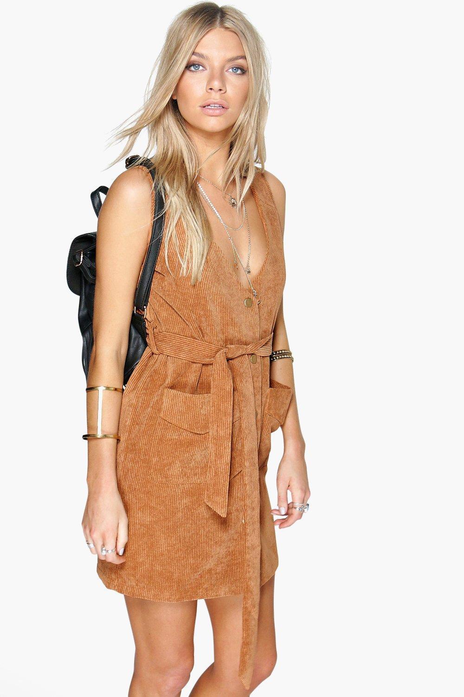21da4716c3e Rebecca Button Front Cord Dress | Boohoo
