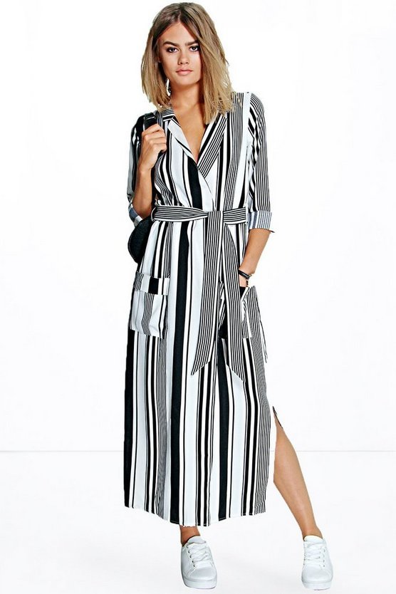 Womens Multi Striped Maxi Shirt Dress