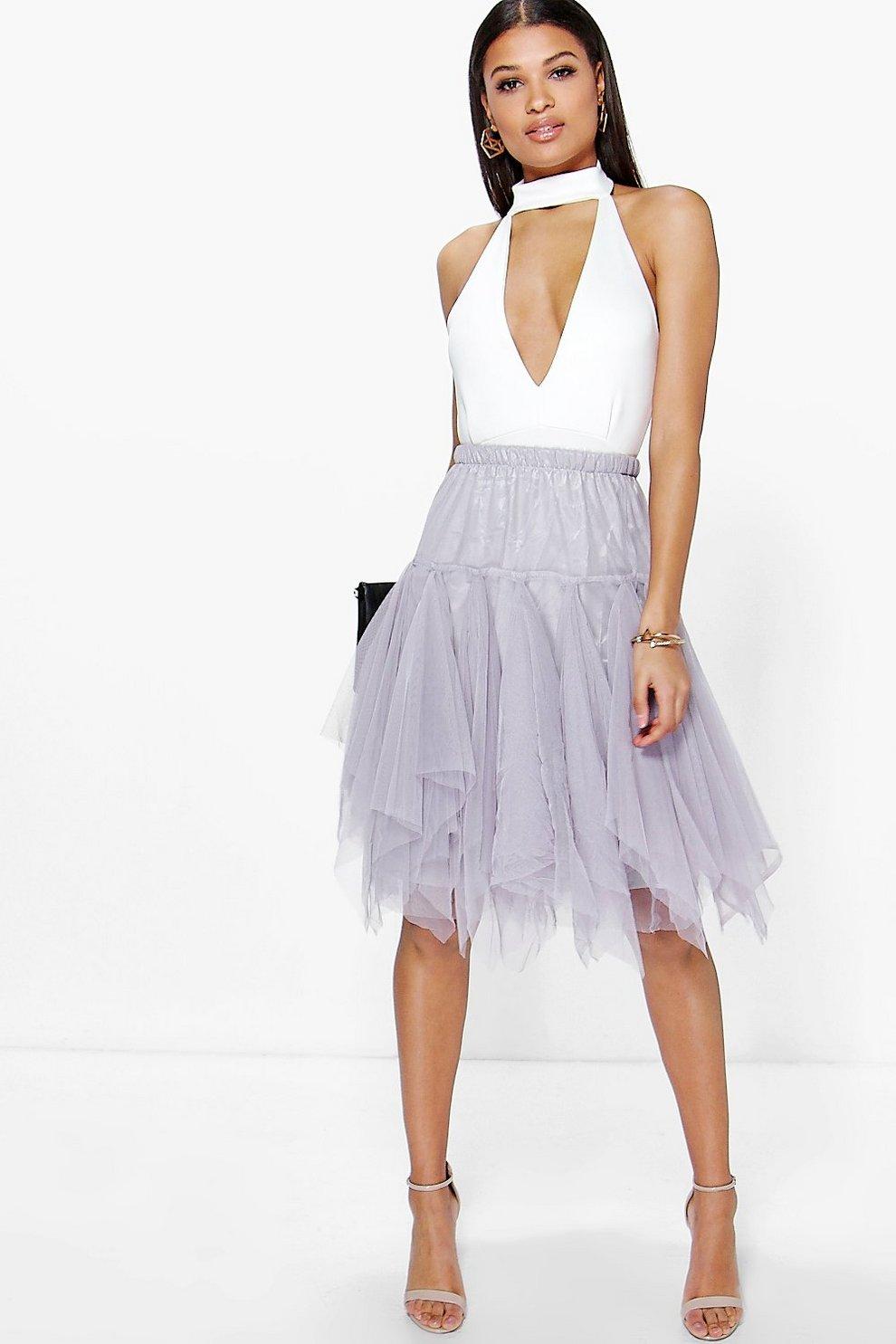 3a202774c6b400 Zofia Layered Bohemian Tulle Midi Skirt | Boohoo