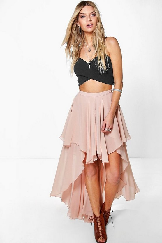 Giselle High Low Hem Bohemian Maxi Skirt