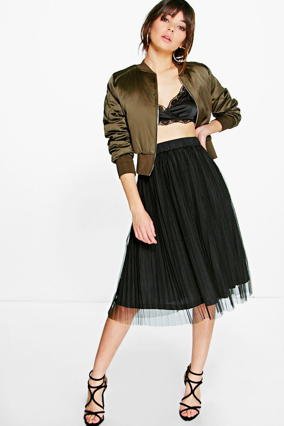 ad0a7be7530 Madison Boutique Pleated Tulle Midi Skirt