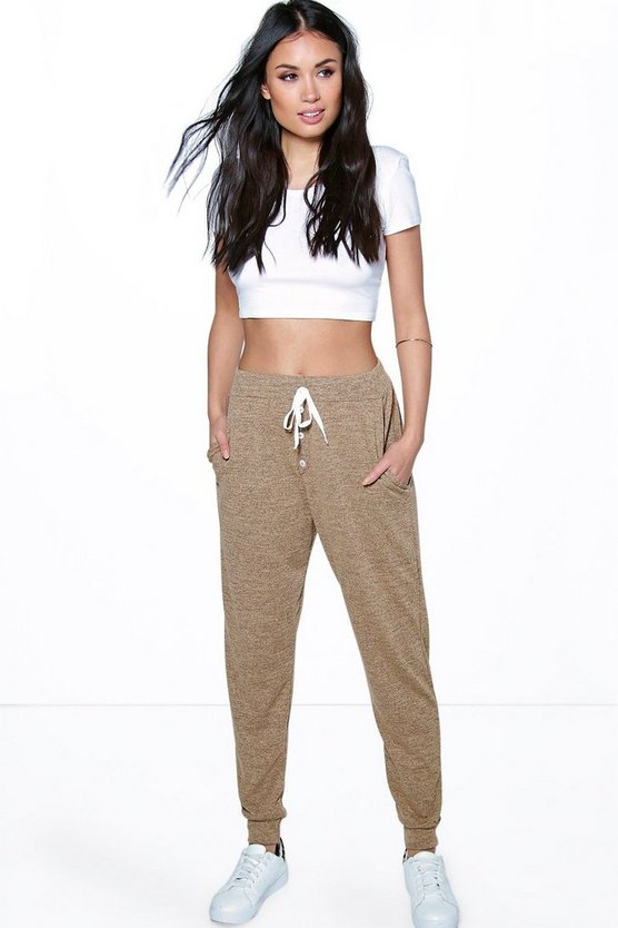 Melange Button Front Relaxed Joggers