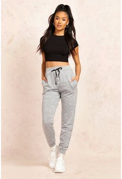 Grey Melange Button Front Relaxed Joggers