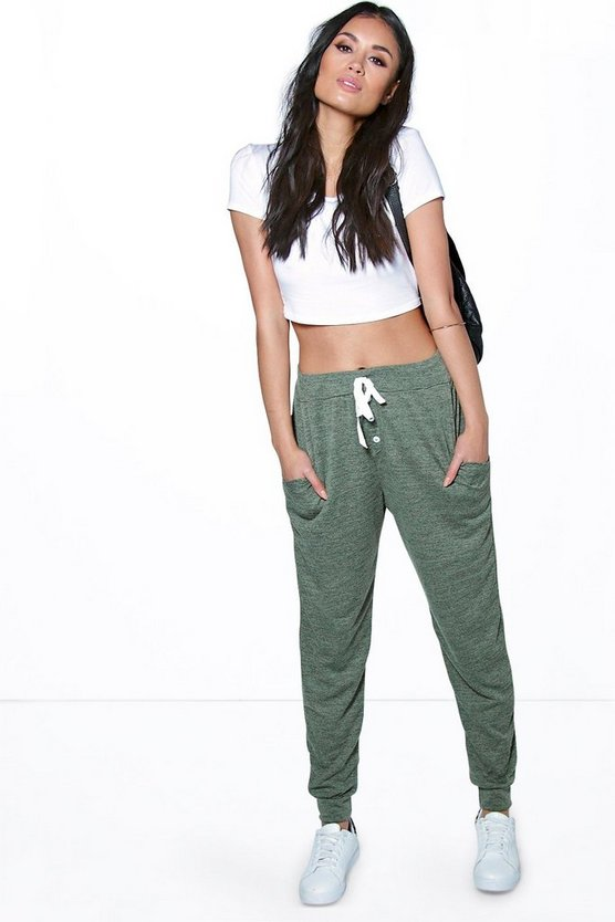 Khaki Melange Button Front Relaxed Joggers