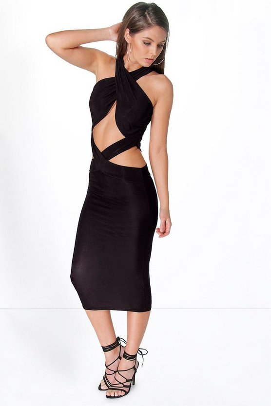Womens Black Lana Slinky Cut Out Detail Midi Dress