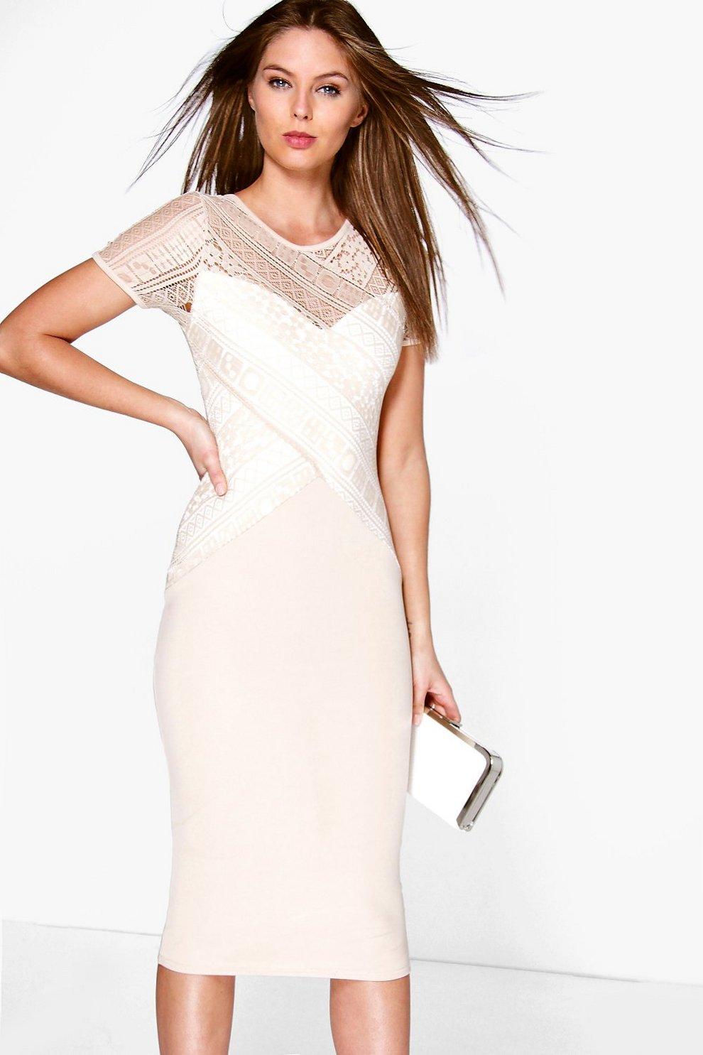 61239d04a769 Rebecca Lace Panel Contrast Midi Dress | Boohoo
