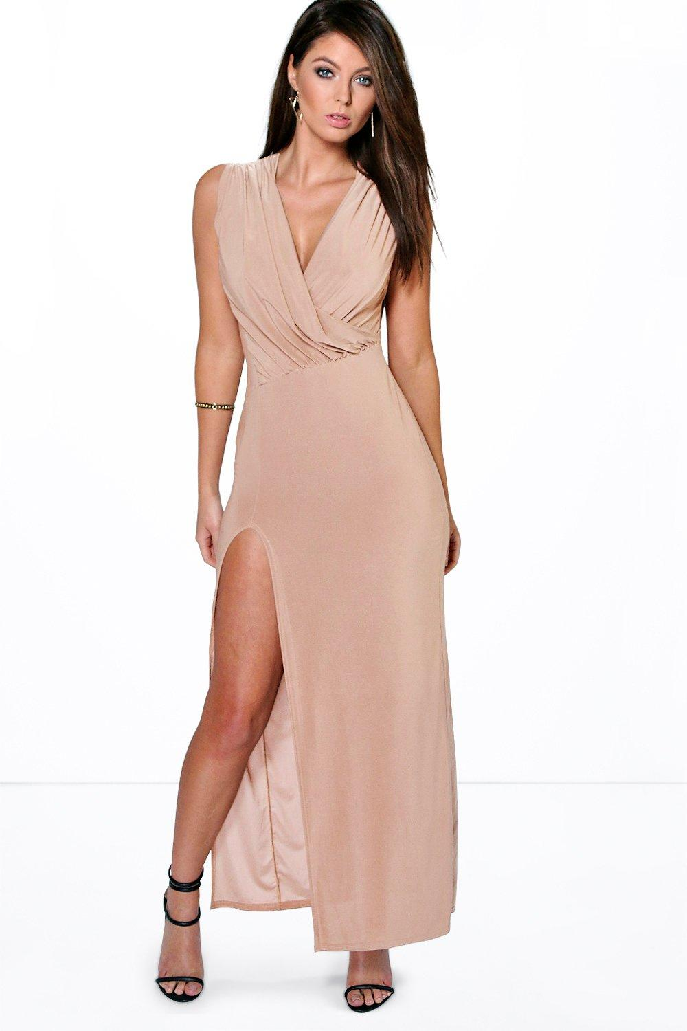 0ccae1f57c54a Cindy Draped Plunge Thigh Slit Maxi Dress. Hover to zoom