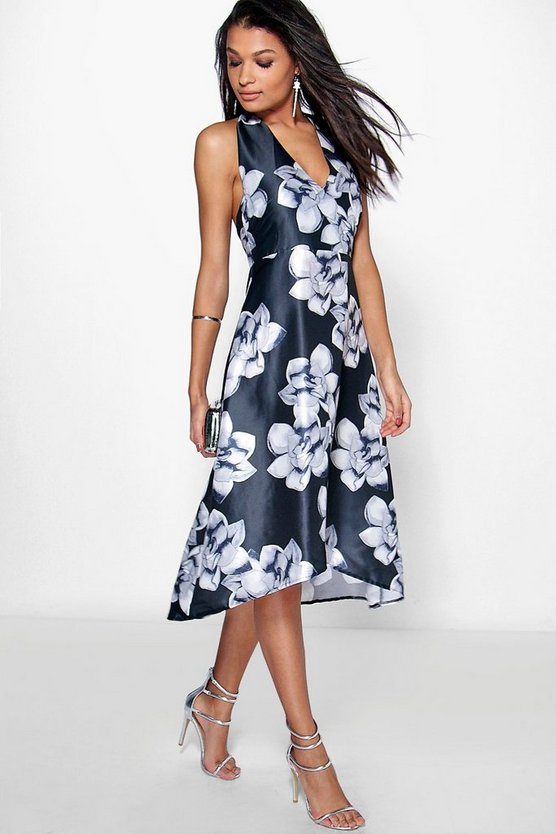Taylor Floral Sateen Halterneck Skater Dress