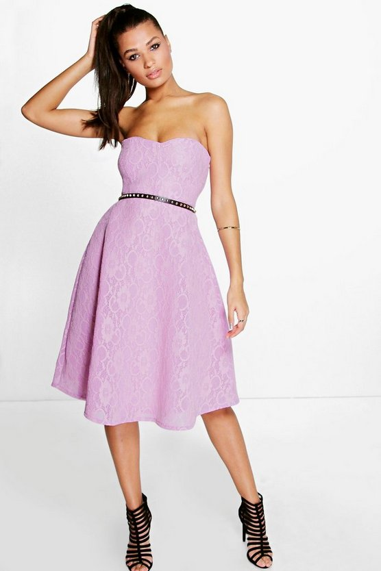 Womens Lilac Boutique Mia Bonded Lace Bandeau Skater Dress