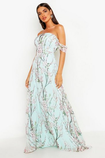 Mint Floral Off The Shoulder Maxi Dress