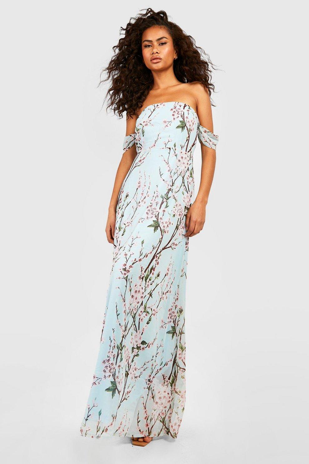 db34a27c0fbc1 Floral Off The Shoulder Maxi Dress