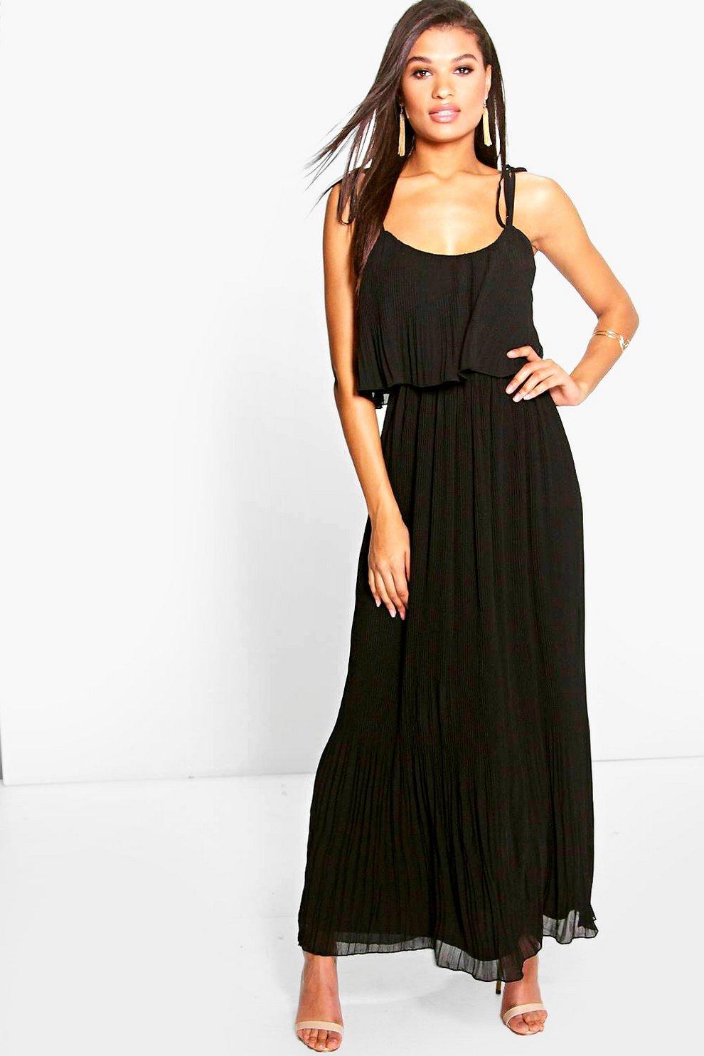 633c6ac43 vestido largo plisado con tirantes y capa doble sandra | Boohoo