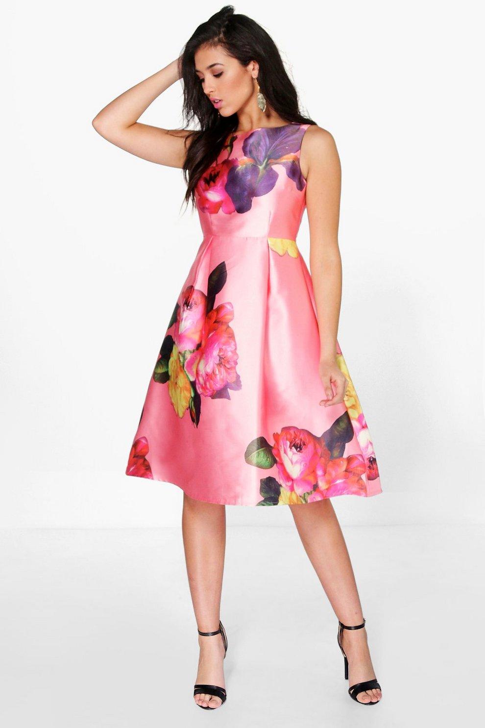 5954371ac3301 Leanne Oversized Floral Midi Skater Dress | Boohoo