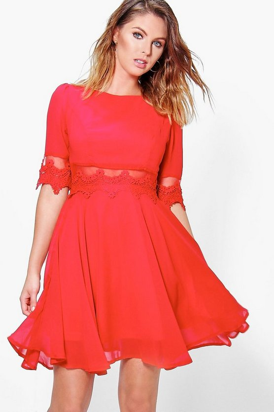 Lace & Mesh Insert Skater Dress