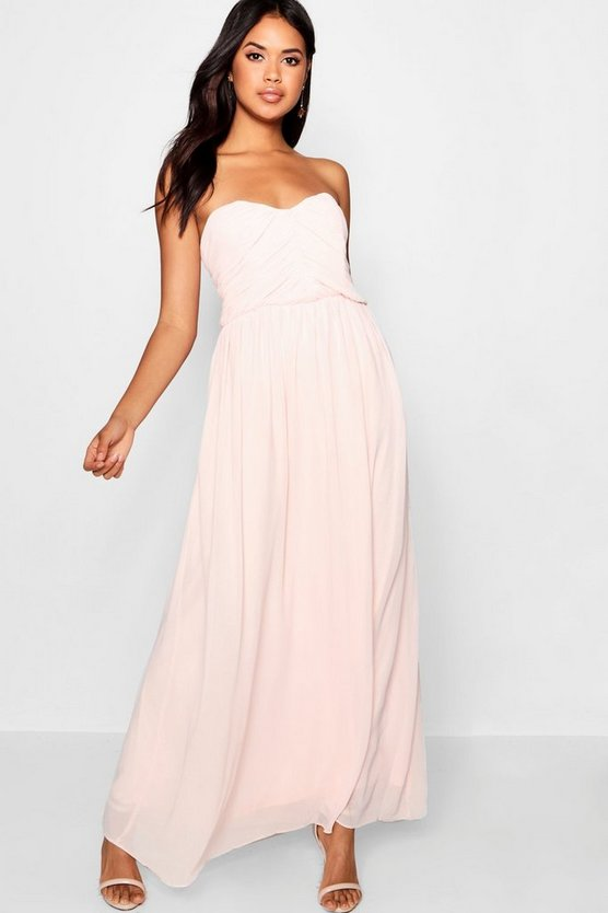 Pleated Chiffon Top Bandeau Maxi Dress