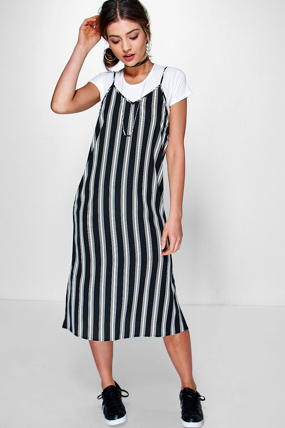 d1715de1656b7 Sarah Cami Slip Stripe Dress | Boohoo