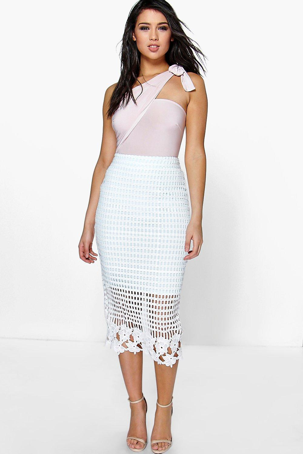 Boutique Karina Crochet Lace Pencil Skirt Boohoo