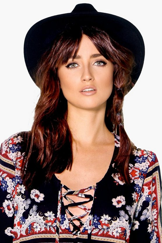 Womens Black Ribbon Trim Fedora Hat