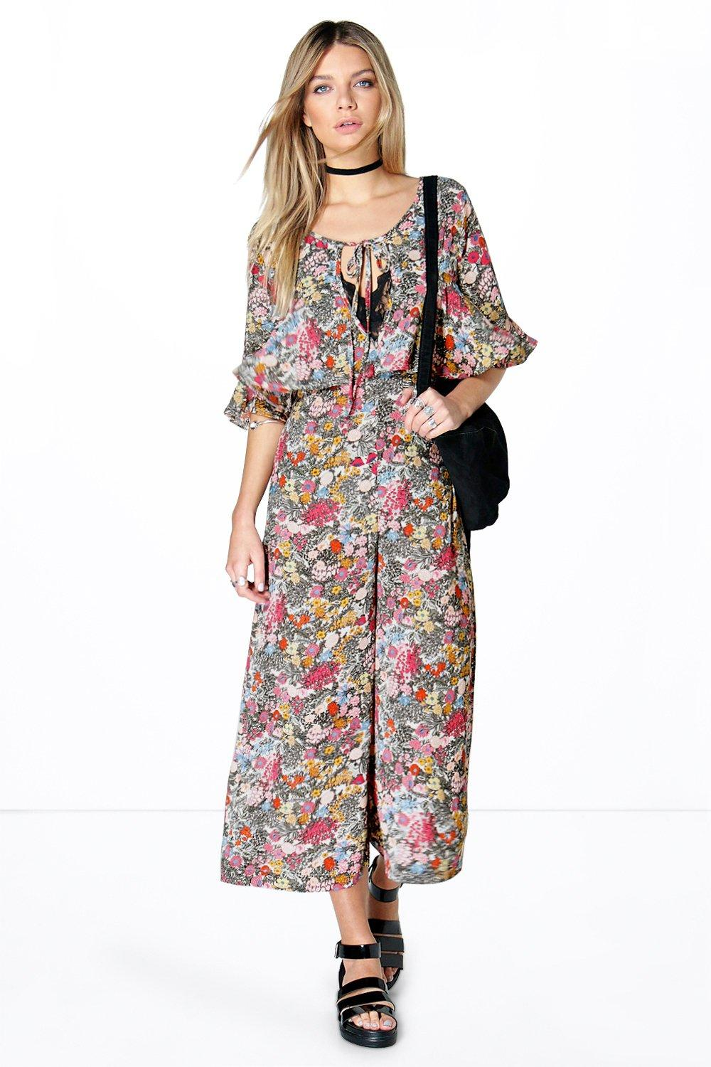 d840ff9cf1f Olivia Floral Wide Leg Ruffle Culotte Jumpsuit. Hover to zoom