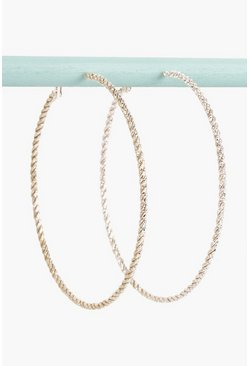 Womens Rose gold Oversized Twisted Hoop Earrings