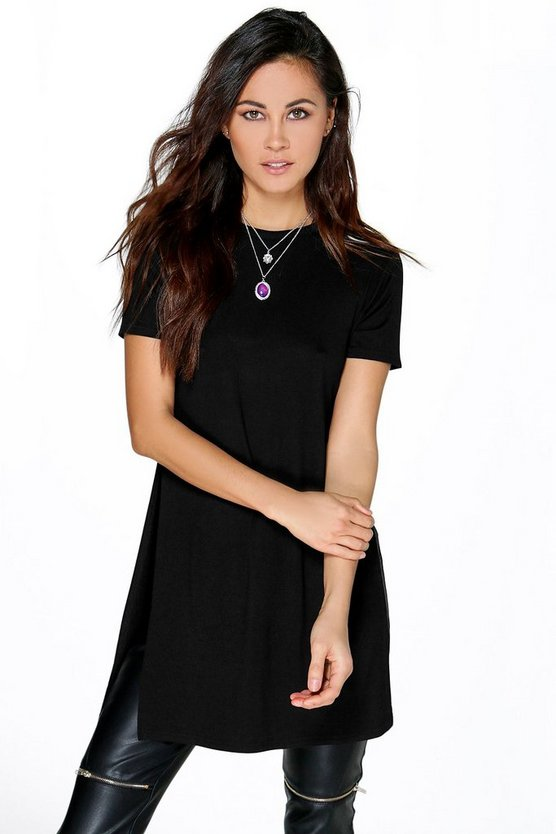 Isabella Basic Oversized Split Side Tee