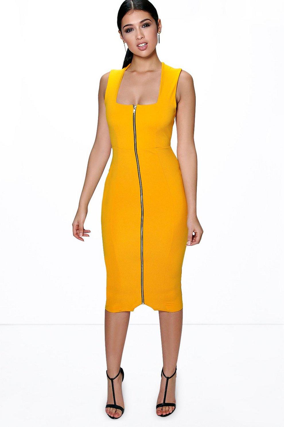 6ac1748d1982c Sia Square Neck Zip Front Midi Bodycon Dress | Boohoo