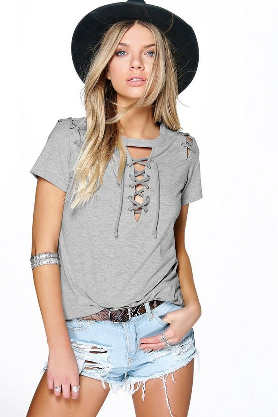 Lace Up Neck + Shoulder Tee