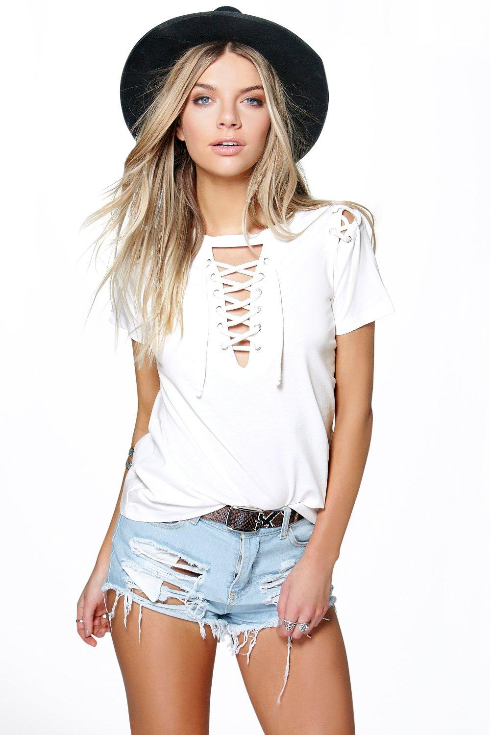 42df14bfe9806 Lace Up Neck + Shoulder Tee   Boohoo