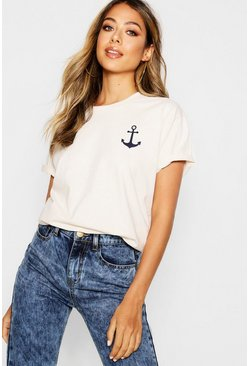 Anchor Print T-Shirt, Ecru, Женские