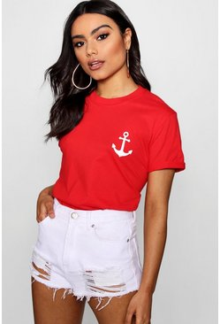 Womens Red Anchor Print T-Shirt