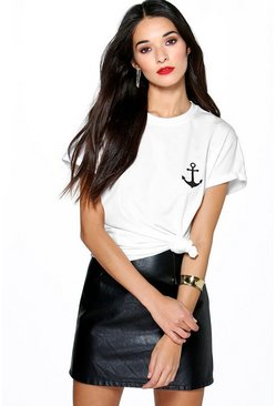 Womens White Anchor Print T-Shirt
