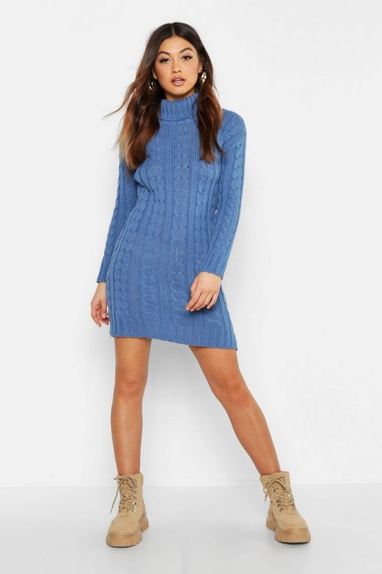 Womens Denim-blue Cable Knit Jumper Dress