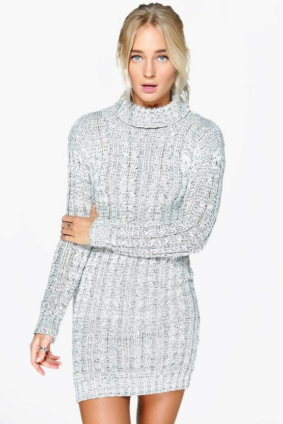 Womens Grey Cable Knit Jumper Dress