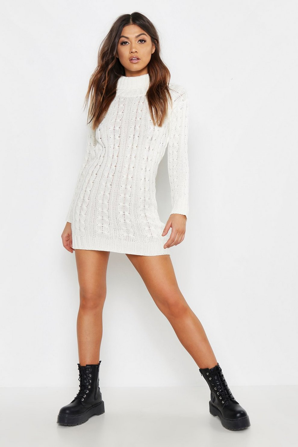 2a2d83b02d4 Womens Ivory Cable Knit Jumper Dress. Hover to zoom