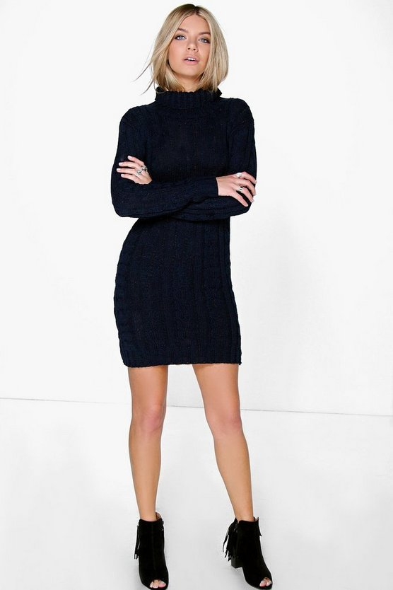 Womens Midnight Cable Knit Jumper Dress