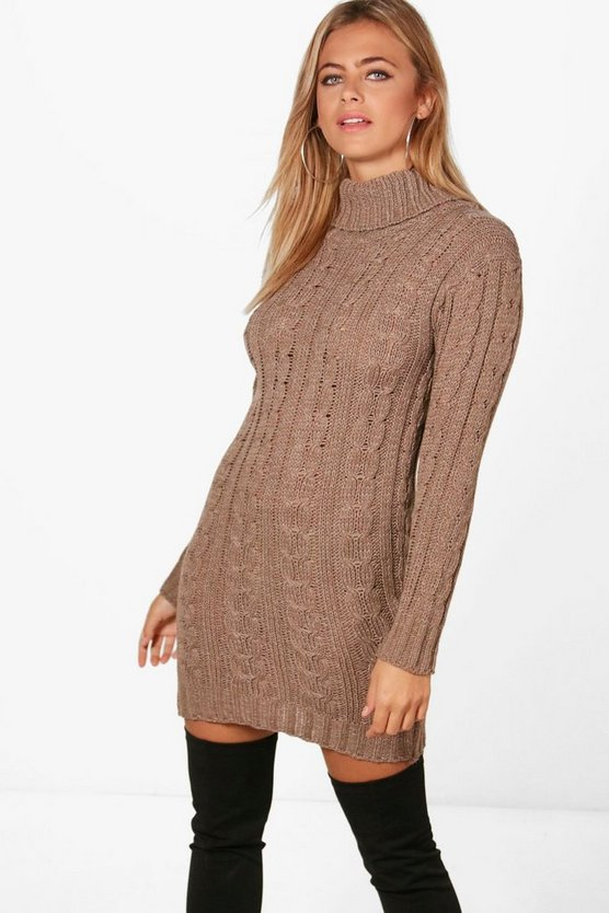 Womens Mink Cable Knit Jumper Dress