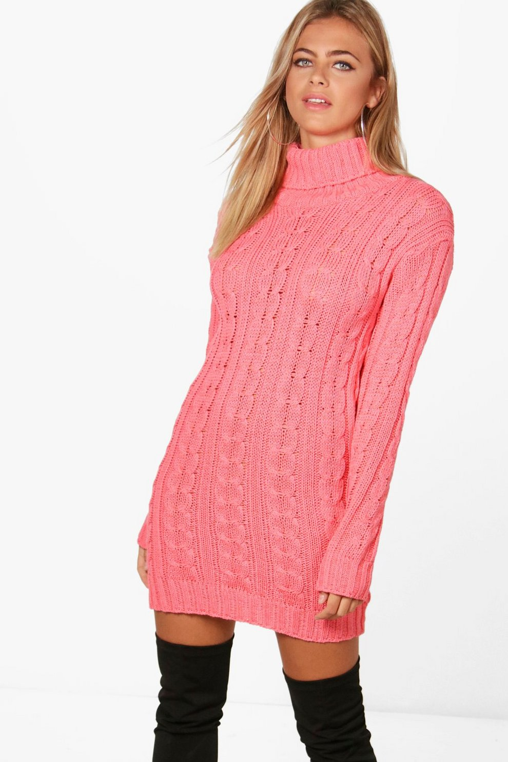 Cable Knit Jumper Dress Boohoo