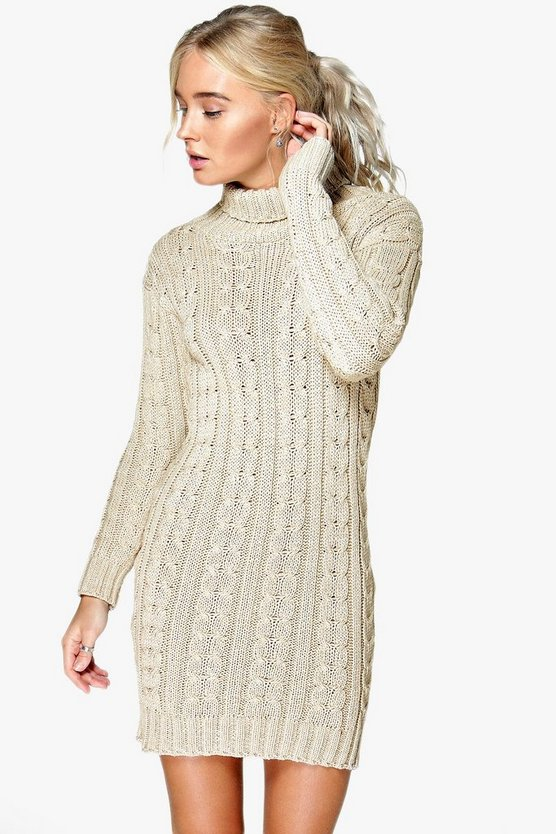 Womens Stone Cable Knit Jumper Dress
