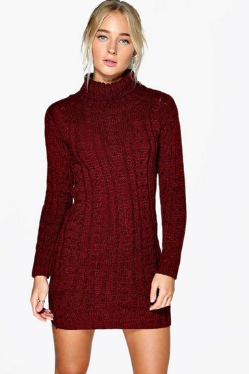 Womens Wine Cable Knit Jumper Dress