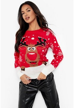 Womens Red Contrast Hem Reindeer Christmas Jumper