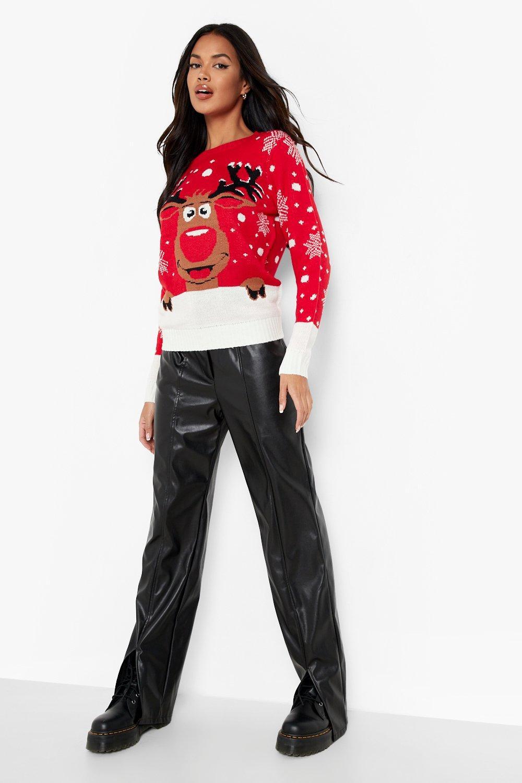 Rojo Jersey navideño Jersey navideño de reno T6SqXWfwq8